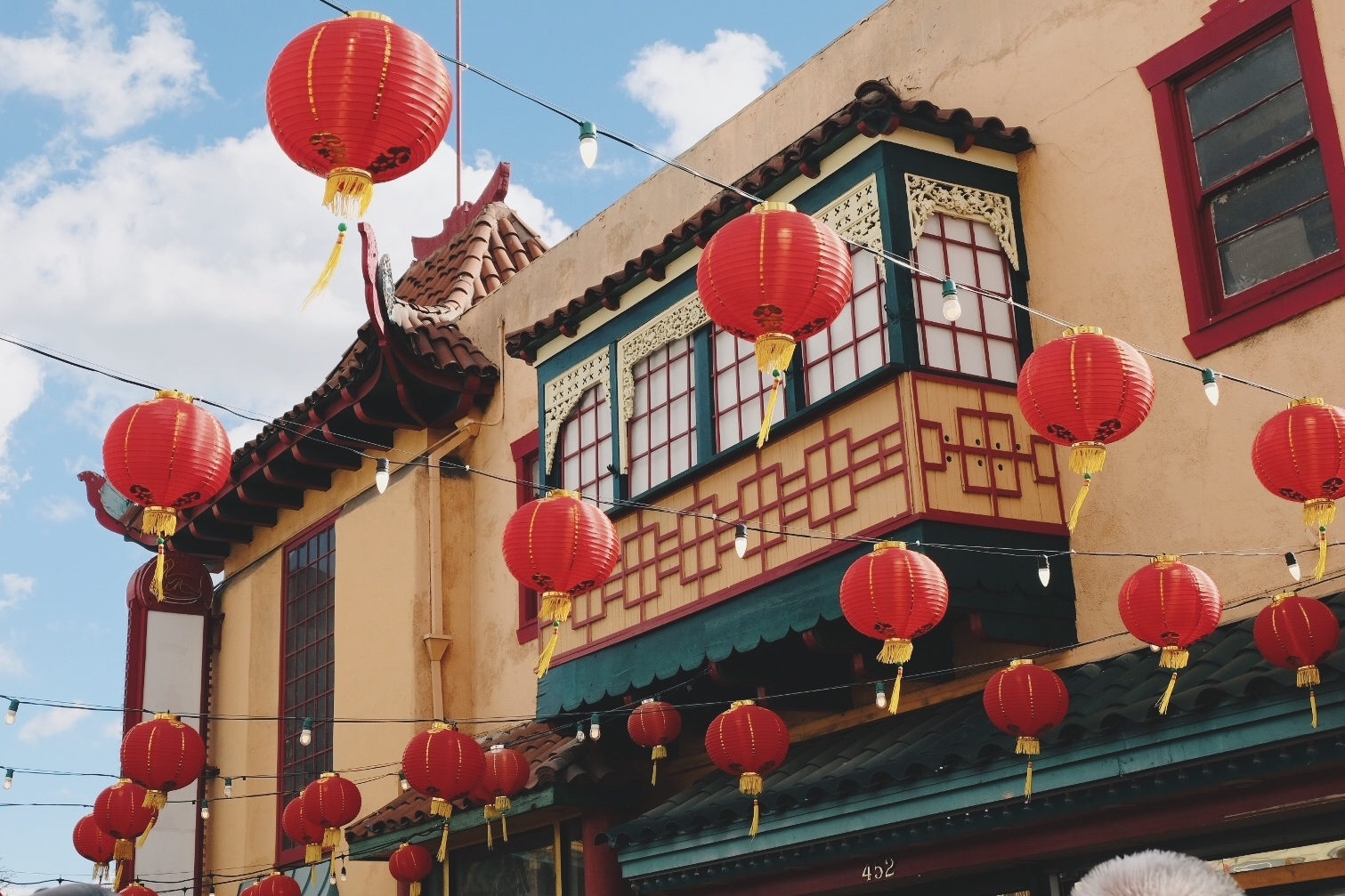 Los Angeles Chinatown with hanging red Chinese lanterns