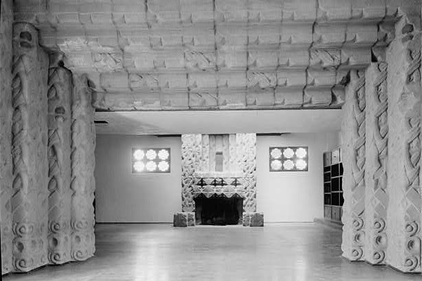 The Sowden House fireplace. Photo via Library of Congress (1940)