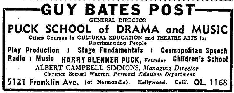 Ad for the Puck School of Drama and Music, held at the Sowden House, from the  Los Angeles Times  (Aug. 20, 1939)