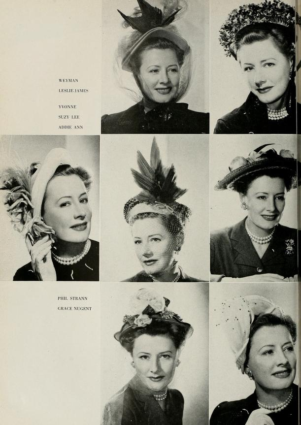 "Irene Dunne's two page spread in The Californian after being selected ""California Millinery Queen"" (1949)"