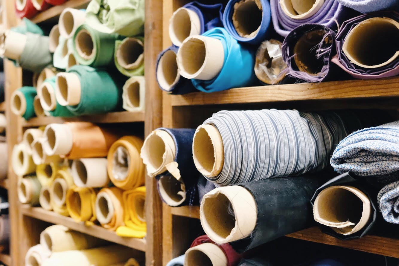 Vintage fabric at California Millinery Supply Co.