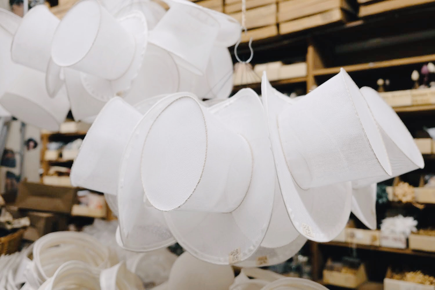Top hat buckram frames at California Millinery Supply Co.