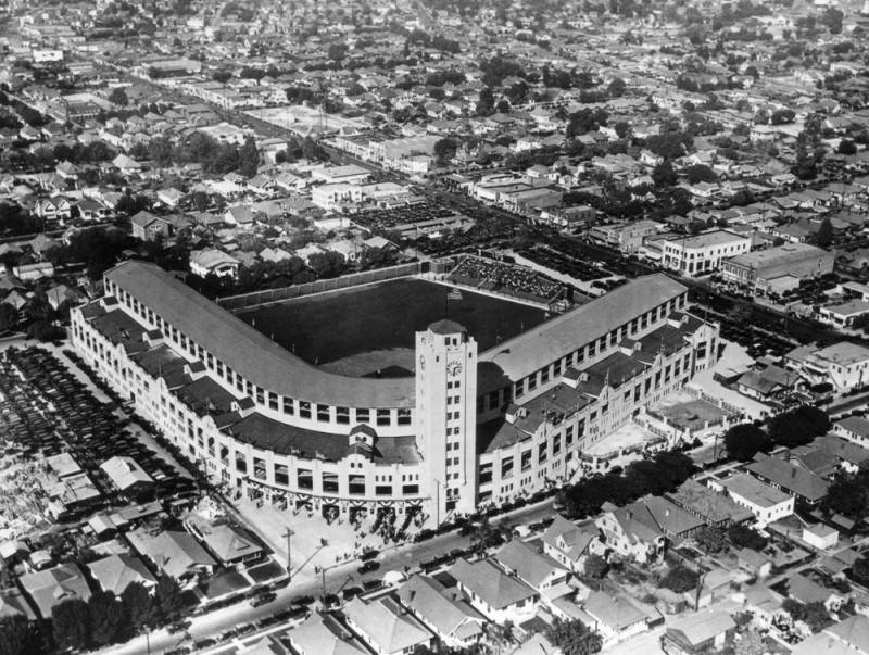 Wrigley Field on Opening Day in 1925. Image via LA Public Library,