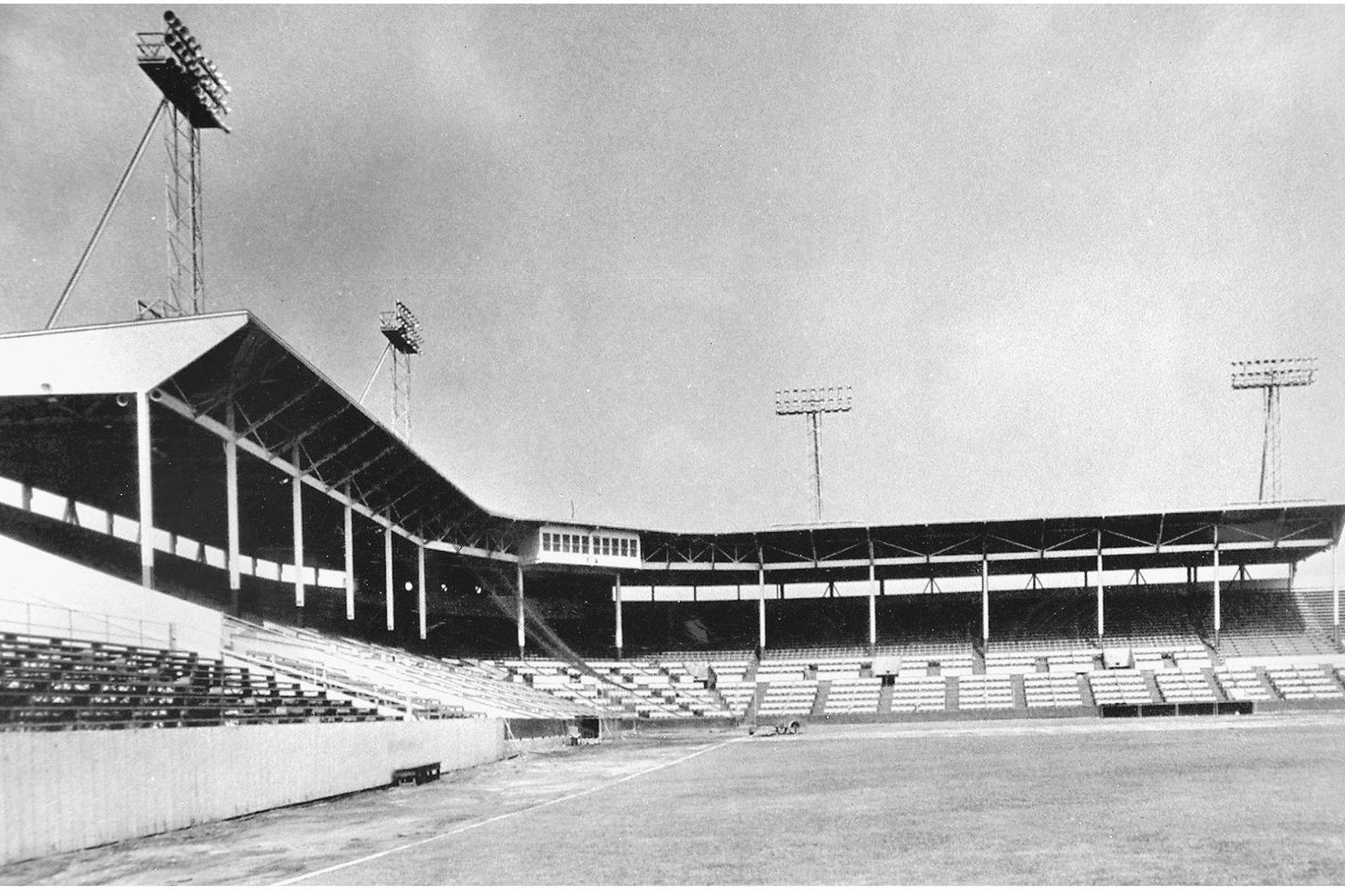 A shot of empty Gilmore Field, showing how close the fans were to the action on the field. Photo by Jerry Mezerow via  The Hollywood Stars  (c. 1940s).
