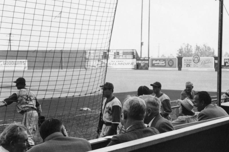 Fans getting up close to their favorite players at Gilmore Field. Photo via Los Angeles Public Library, Security Pacific National Bank Photo Collection (c. 1940).