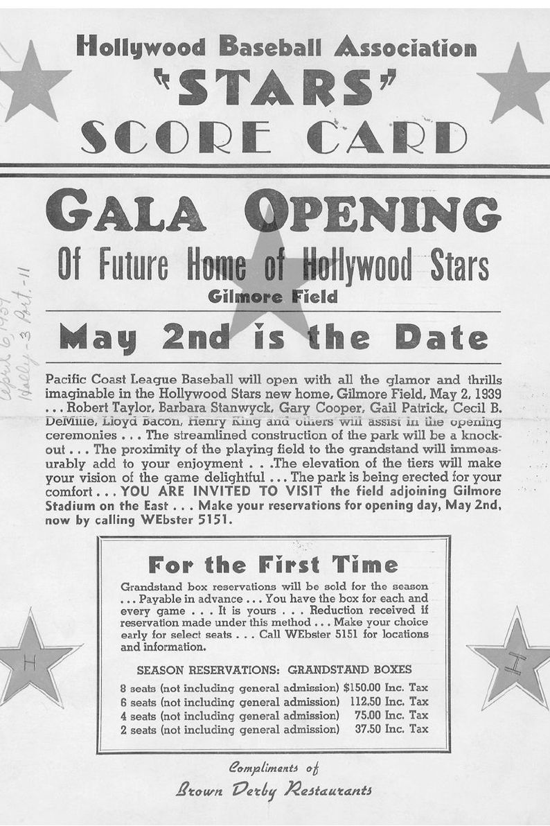 Flyer for Gilmore Field's home opener on May 2, 1939. Photo via David Eskenazi Collection,  The Hollywood Stars .