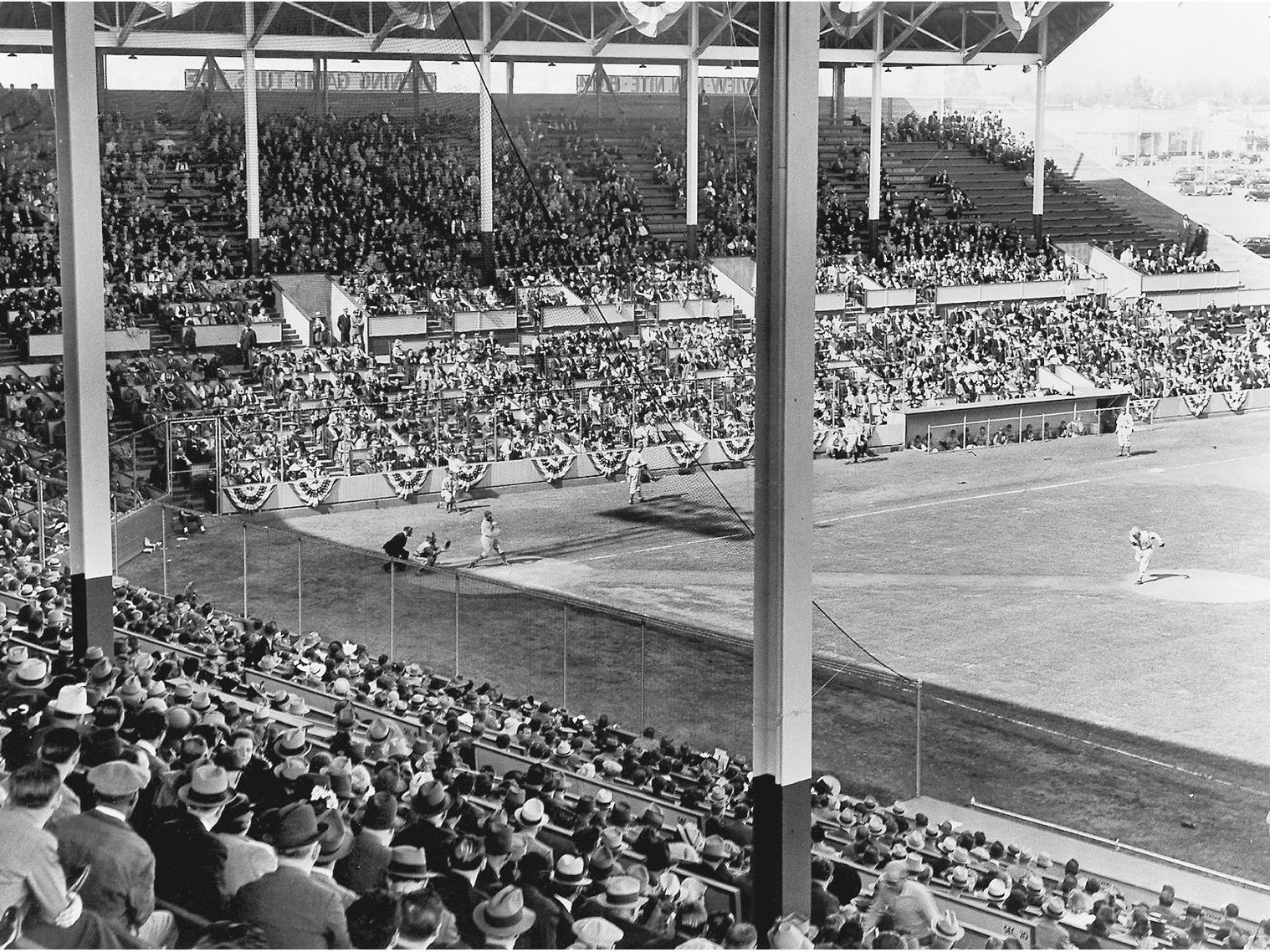Opening day at Gilmore Field, May 2, 1939. Photo via Richard Beverage Collection,  The Hollywood Stars .