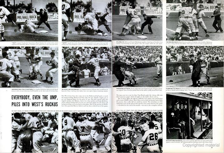 "Part of the  LIFE  magazine 3-page spread titled ""It's Rhubarb Time at the Ballpark,"" showing the brawl between the Angels and Stars at Gilmore Field in 1953."