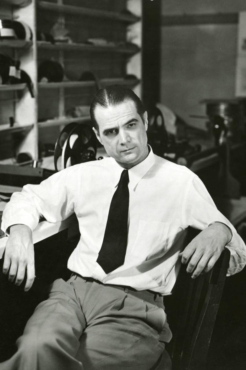 Howard Hughes in a film editing lab. Photo via UNLV Library (c. 1940s-50s)