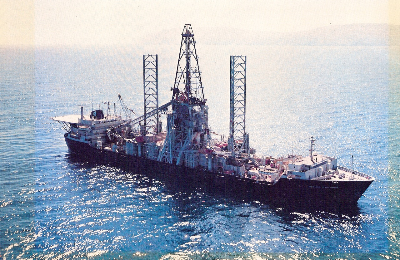 The  Hughes Glomar Explorer , the ship Hughes secretly built in coordination with the CIA to recover a sunken Russian submarine. (c. 1974)