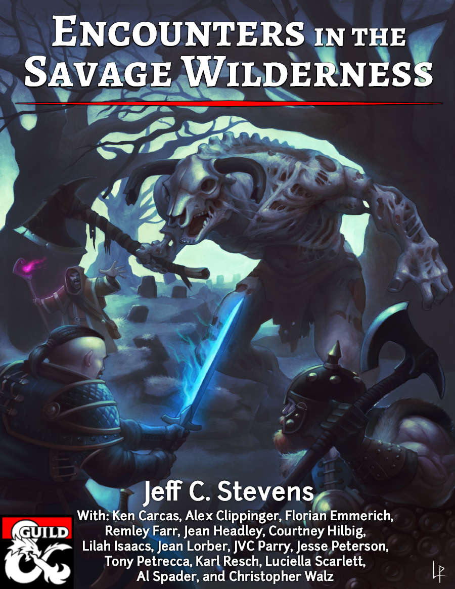 Encounters in the Savage Wilderness - What will your adventurers find in the Savage Wilderness? This supplement gives you a few ideas: a pet ochre jelly, a strange hotel, ritualistic trolls, a dying hippogriff, and many more. Most are written for a generic location and should fit well in any campaign setting. We've even included suggestions for Eberron!This 116-page supplement contains 19 encounters written by best-selling Dungeon Masters Guild writers and new writers!Encounters in the Savage Wilderness includes:19 unique encounters / mini-adventuresA mix of combat, roleplay, and investigationNew creaturesCustom ArtDownloadable Custom Maps (as a separate file)We hope you enjoy the encounters!