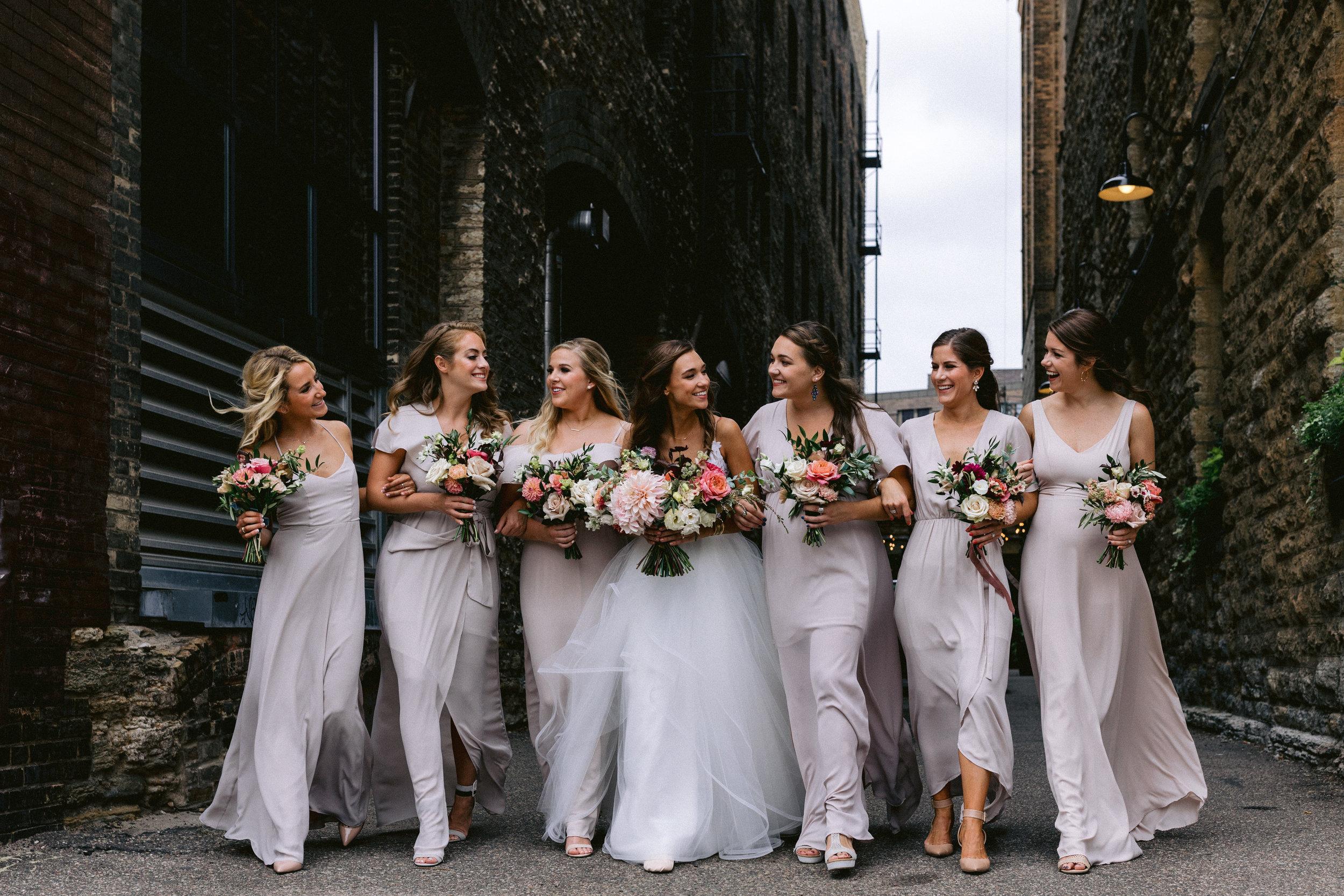 bridesmaids strutting their stuff