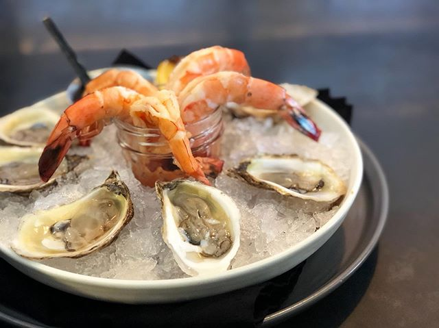 We've added some gorgeous seafood offerings to our BRUNCH menu every Saturday and Sunday. Beau Soleil oysters served with classic mignonette and jumbo prawn cocktail. #classy #southerndecadence #brunch #dogpatch #eeeeeats #oysters #jumboprawns #americana #dankness