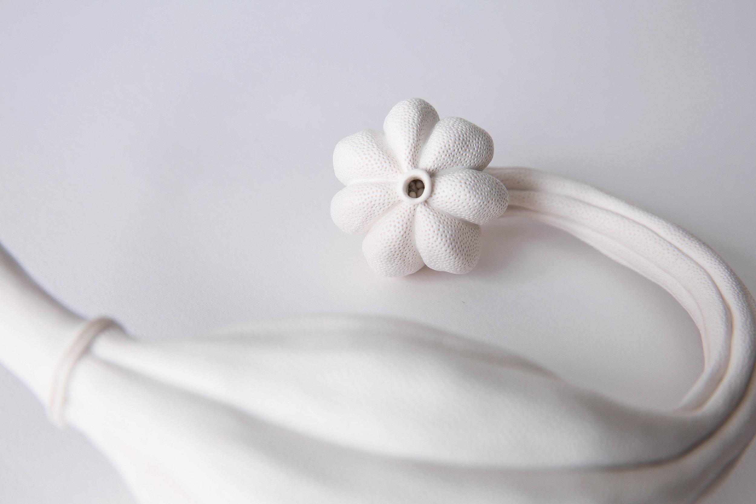 Sarah Rayner,  Telopea truncata Flowerbone Series detail , 2019, hand carved porcelain, Terra Sigillata, various dimensions, Photo: Cristie Quail