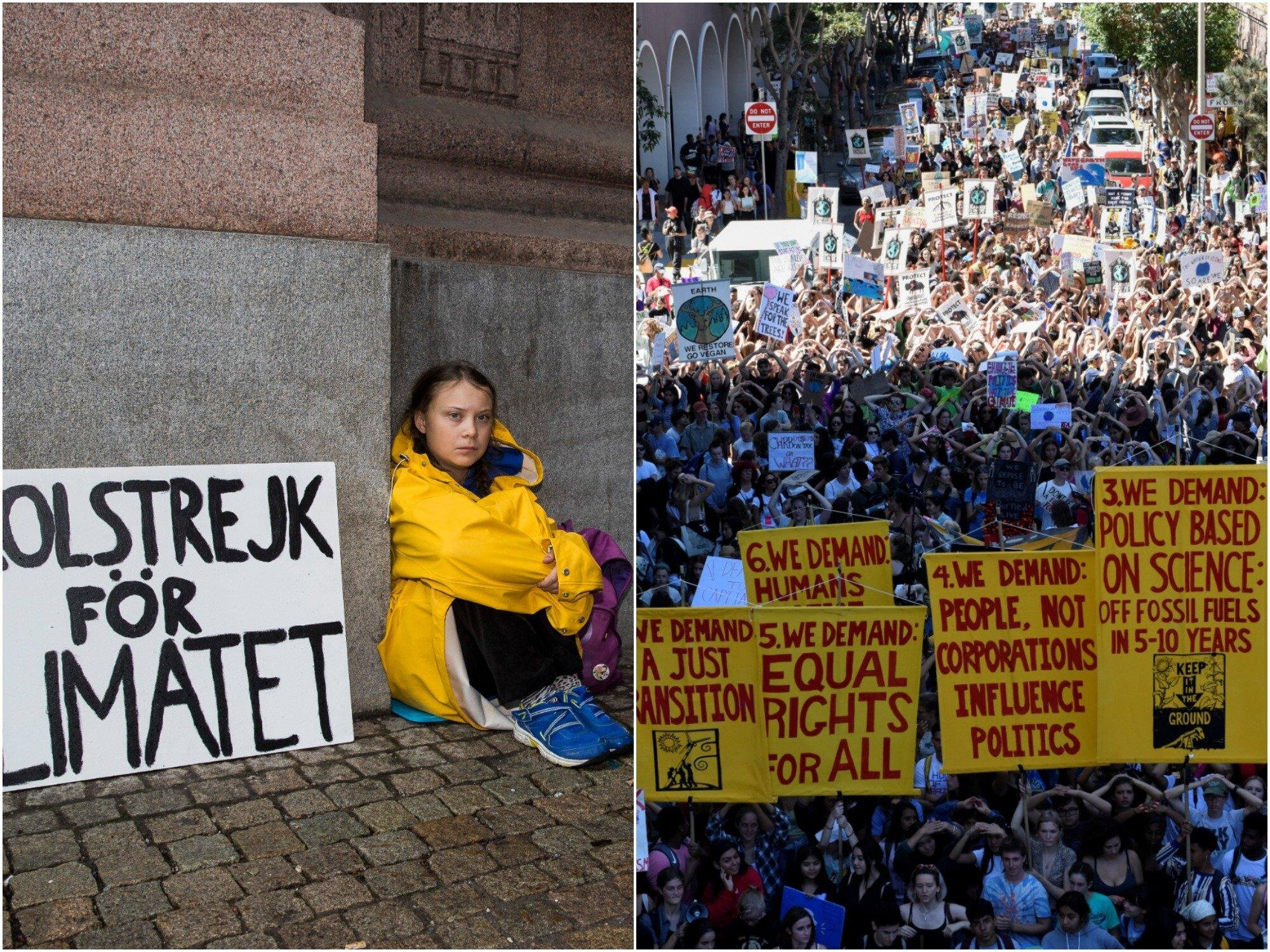 The climate strike a year ago; the climate strikes today