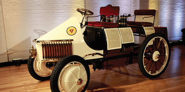 The car shown at a private party in New York is an exact replica of the car Ferdinand Porsche built more than a century ago.