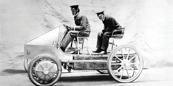 Porsche didn't identify the two chaps taking the Ferdinand's hybrid for a spin.