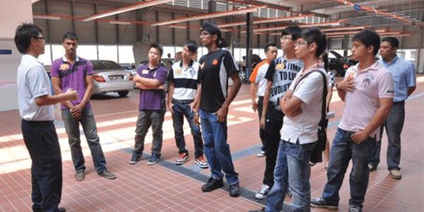 TOC students on a tour of the HSS Mercedes-Benz service centre.
