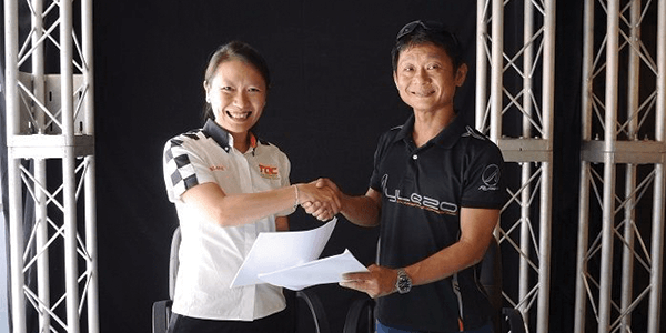 Adelaine Foo, CEO of TOC Automotive College and Zen Low, founder of Aylezo Competizione joining forces to form TOC-Aylezo Race Academy