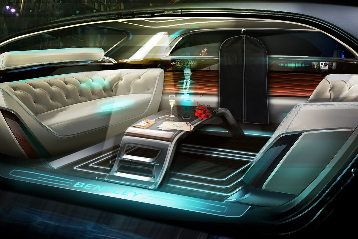 Bentley showing us what their future cars will be like   Image source:  https://www.theverge.com/2016/4/7/11387554/bentley-hologram-butler-future-luxury