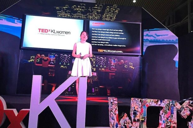 Sharing: Foo sharing her personal and professional experience during TEDxKLWomen 2015. Image from:  The Star Online