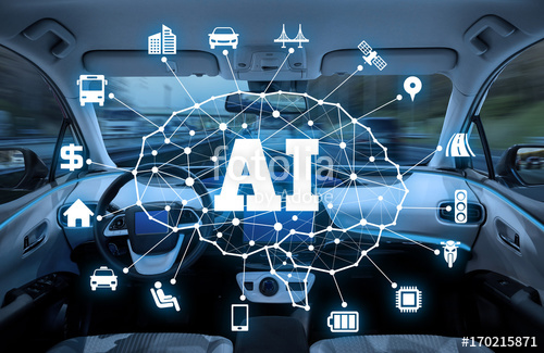 An illustration image of  Artificial Intelligence (AI) controlled vehicle .  Image from:  fotolia
