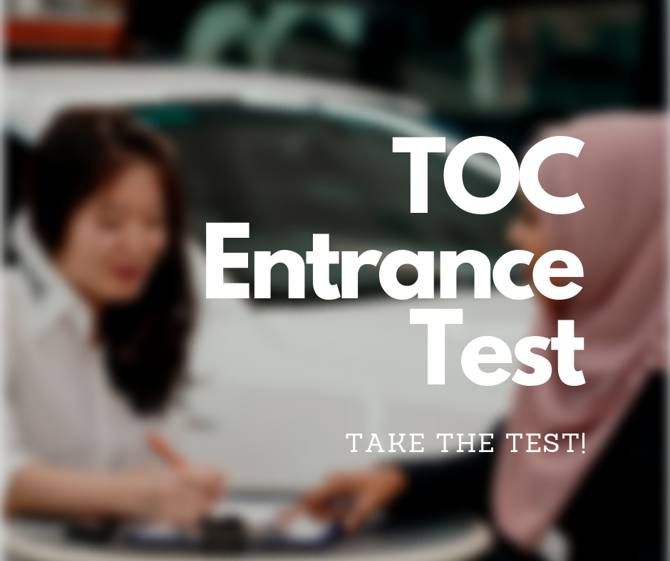 - Proof yourself as TOC material! Take the Online Entrance Test and get an offer letter from TOC instantly to start pursuing your automotive dream!