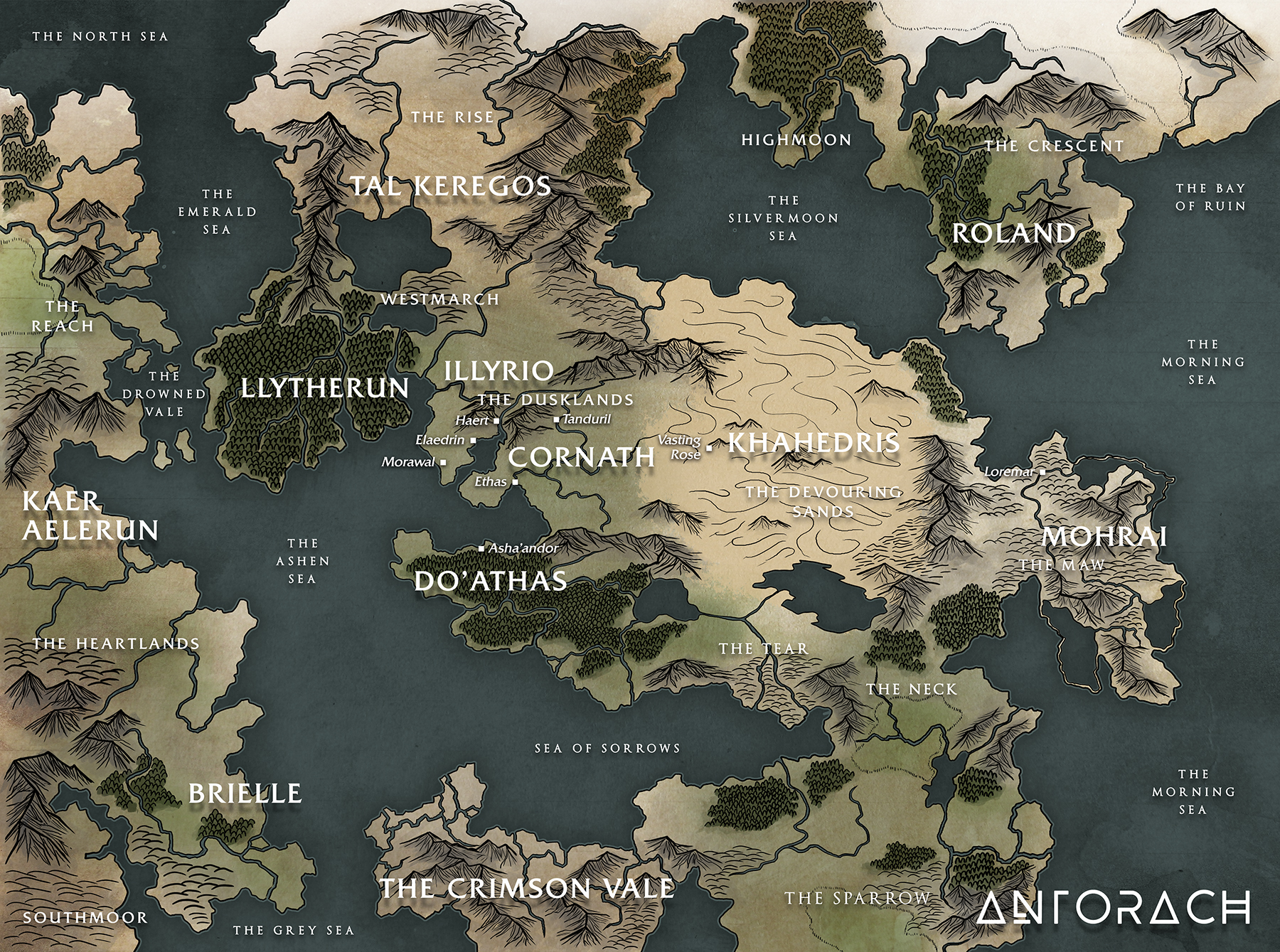 Map of Antorach, one of the main continents of Teth'amir.