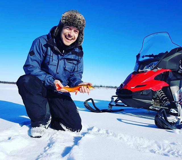 Successful ice fishing today with great weather!  #kirunaadventure #kiruna #sweden #lapland #snowmobile #icefishing