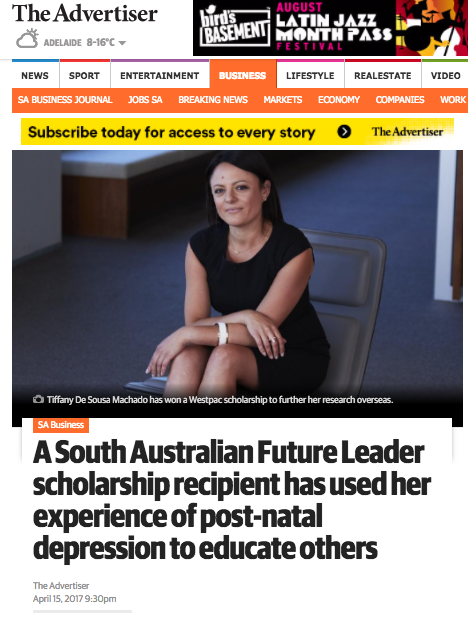 The Advertiser - 'A South Australian Future Leader scholarship recipient has used her experience of post-natal depression to educate others'