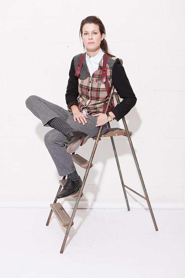 tartan waistcoat jacket, herringbone trousers.jpg