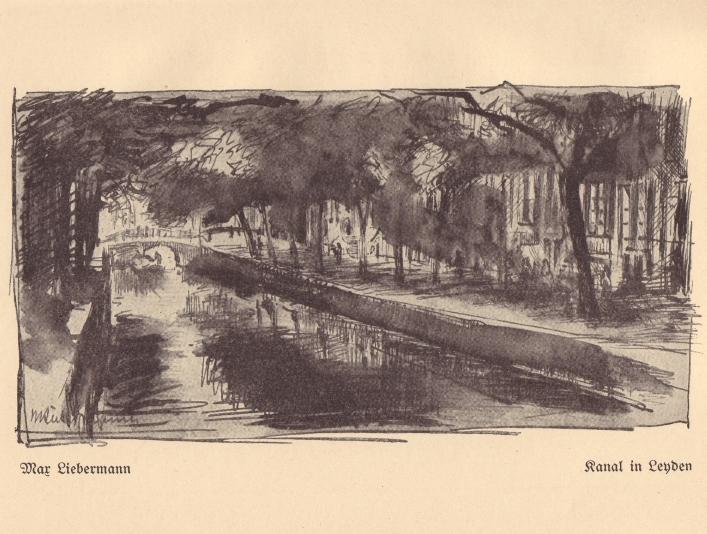 Canal in Leiden  by Max Liebermann (1899) as reproduced in  Die Schönheit der grossen Stadt  (1908)