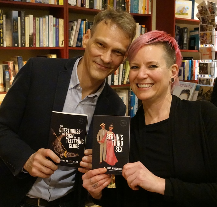 Publisher/translator James J. Conway and designer Cara Schwartz at the Rixdorf Editions launch, Berlin, November 2017 (photo: Hilmar Schmundt)