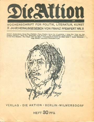 A 1914 edition of socialist journal  Die Aktion  dedicated to Senna Hoy, shortly after his death.