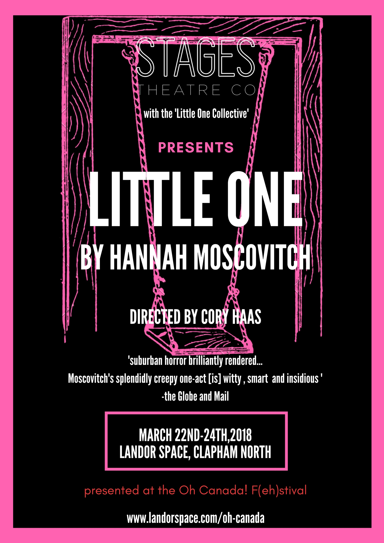 LITTLE ONE - Written by Hannah Moscovitch and directed by Cory Haas– Thursday March 22nd - Saturday March 24th 2018 @ 7pmStandard £16 - Concessions £14The F(eh)stival concludes with our main event, a three-night run of Little One. A chilling psychological thriller,Little Oneis the haunting story of adopted siblings Aaron and Claire – one the definition of normal, the other deeply disturbed and unpredictable – and the strange lives of their neighbours, a man and his mail-order bride. Hannah Moscovitch is a Siminovitch Prize and Govenor General's Award nominee, her plays have received national recognition and has been called 'the wunderkind of Canadian theatre' by CBC Radio.
