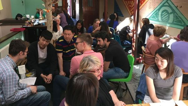 All nationalities meet and talk…