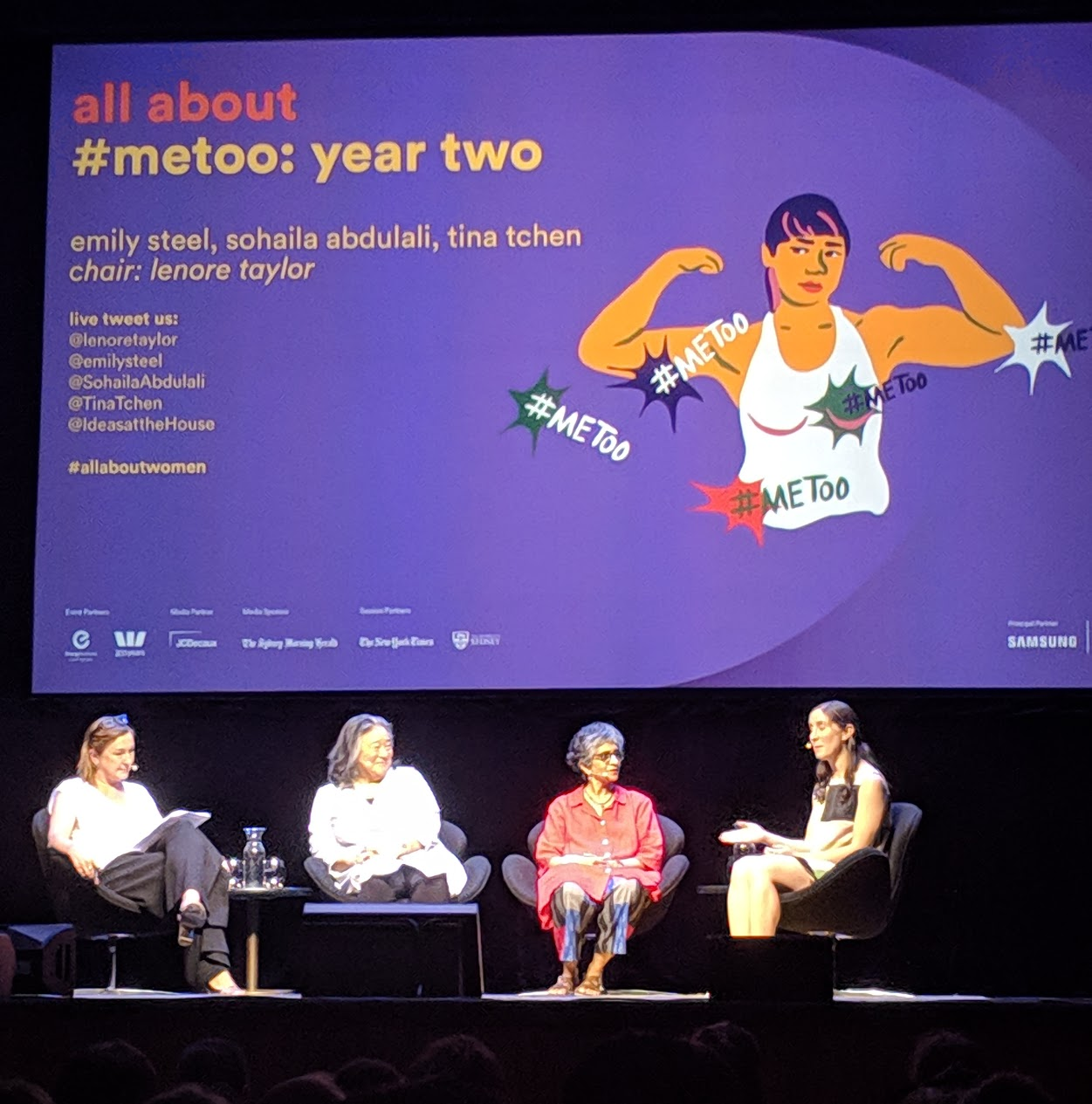 Left to right: Lenore Taylor, Tina Tchen, Sohaila Abdulali and Emily Steel during their panel discussion on #MeToo: Year Two