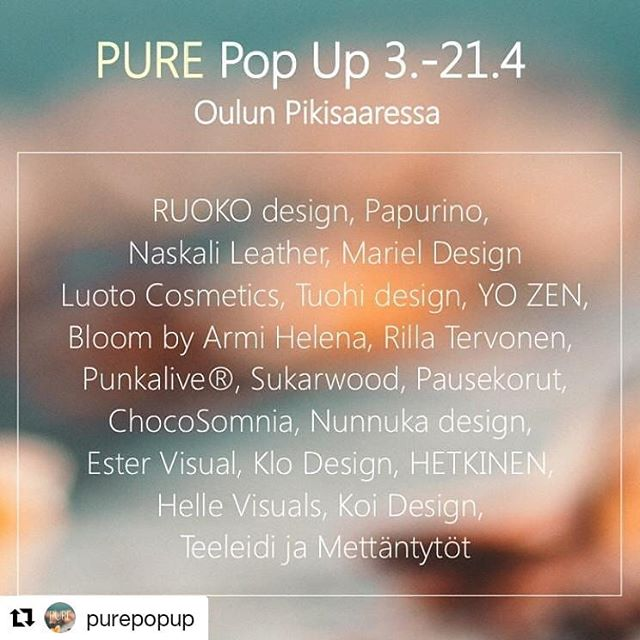 Bloom mukana Pure Pop Upissa Oulun Pikisaaressa 3.-21.4. 🙌🏻😍✨ #purepopup #oulu #pikisaari #designersmarket #letsspeakinflowers #bloombyarmihelena