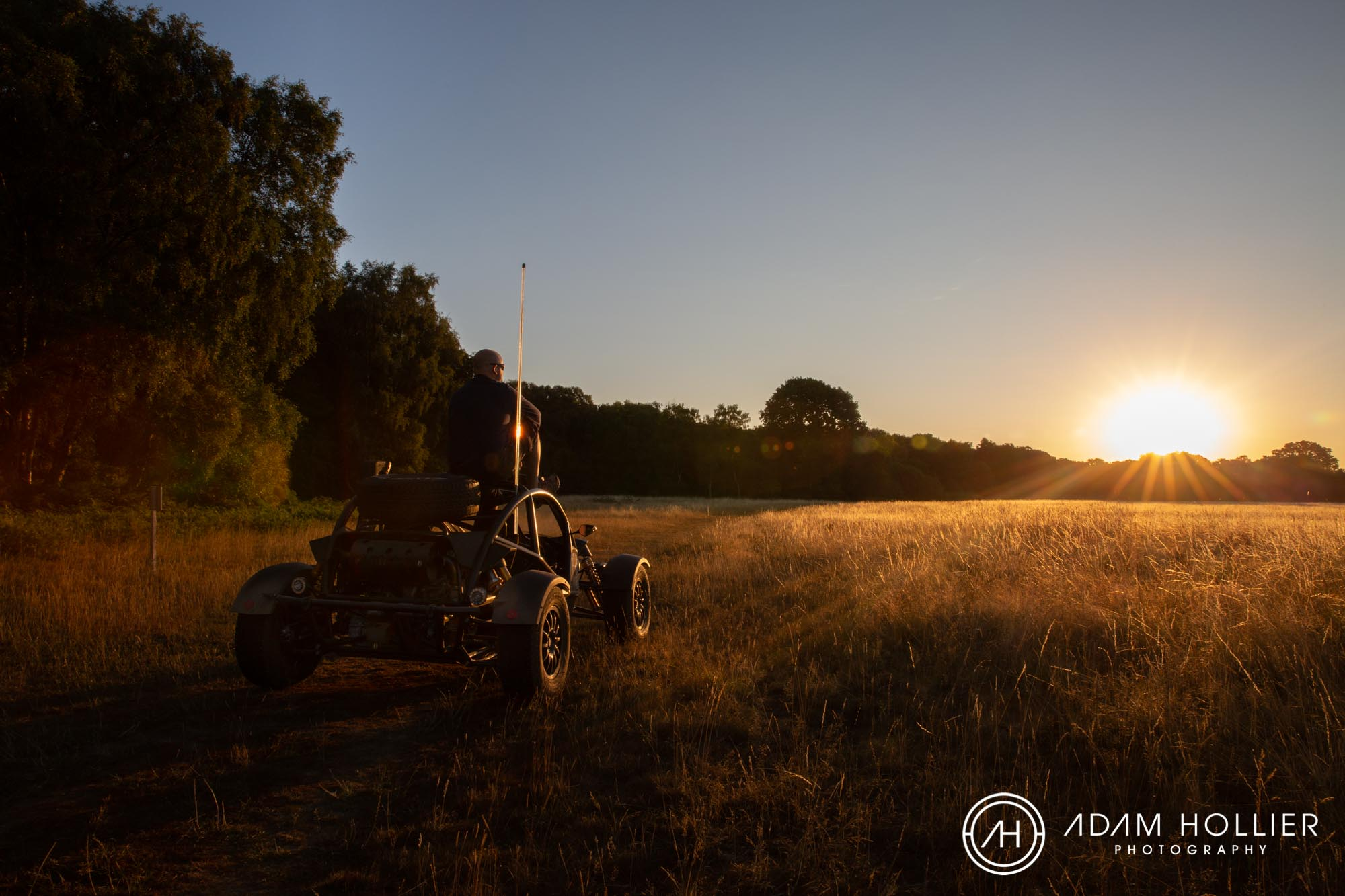 The petrol heads amongst you will know this Mad Max dune buggy-type monster is an Ariel Nomad. We shot this at about 5am (if not earlier!) near Ashridge and this was one of the key images I was keen to get from the shoot. We spent plenty of time shooting this wonderful car in water, mud and dust but I like the serenity of this shot. Man and machine in harmony!