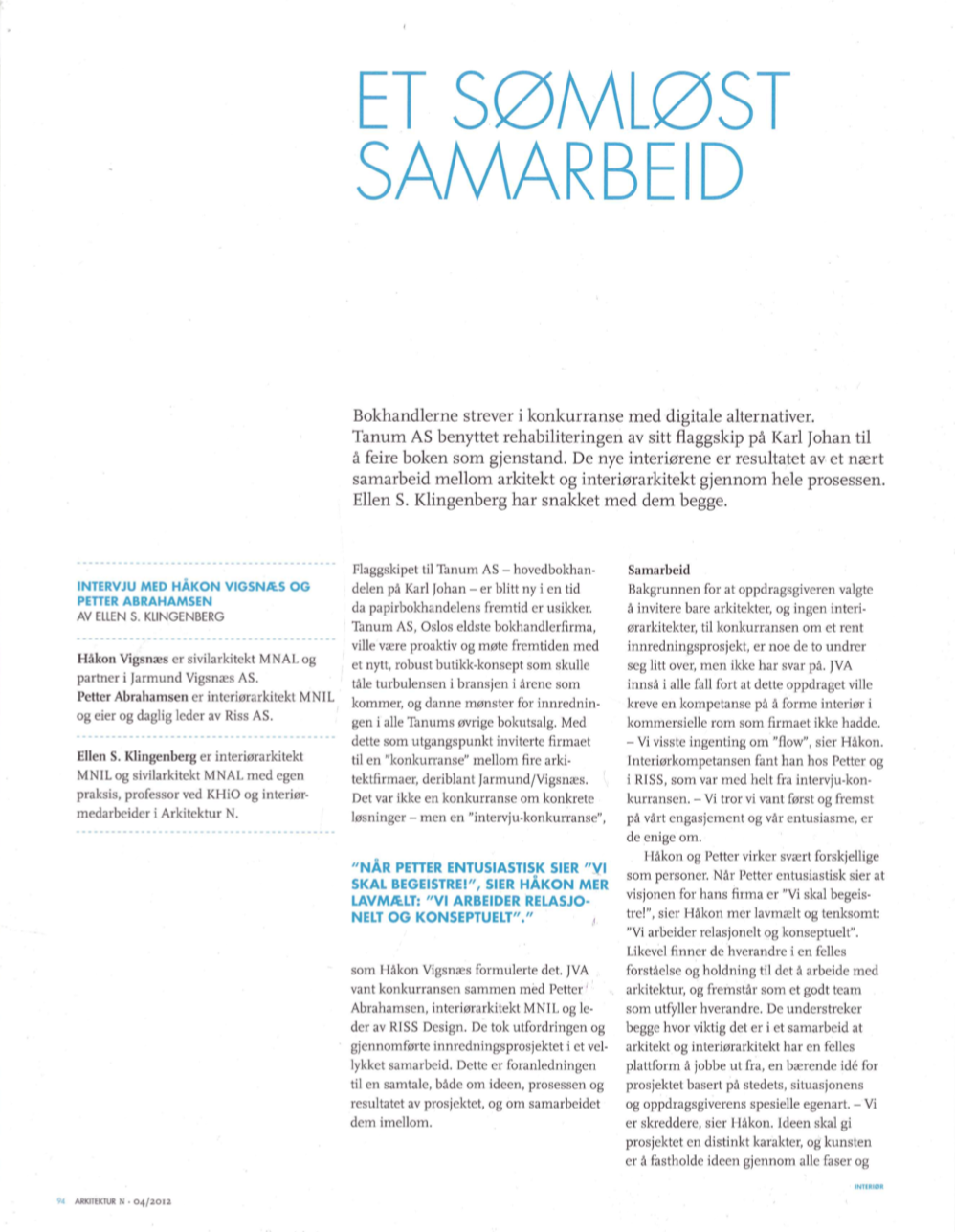 Article in Arkitektur N, 2012