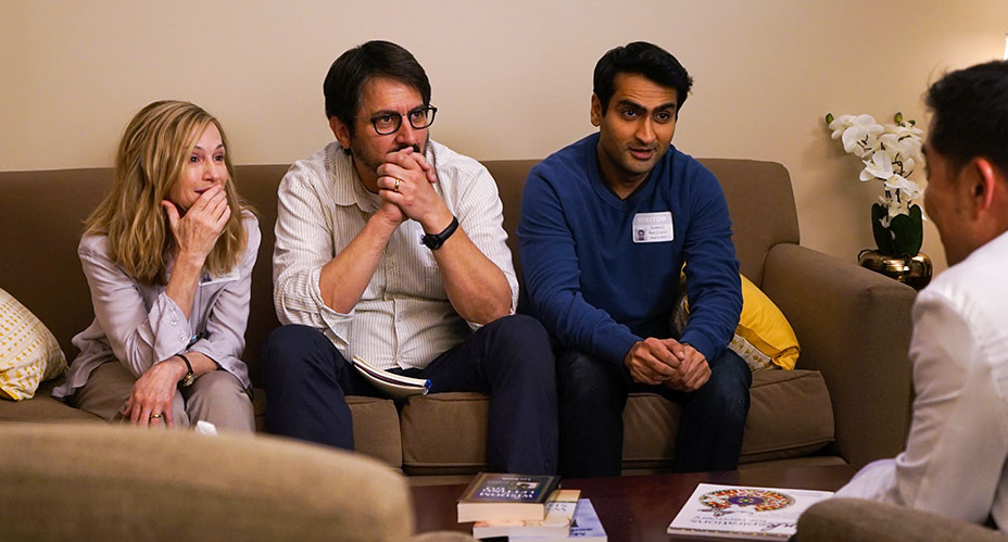 """From L to R: Holly Hunter as """"Beth,"""" Ray Romano as """"Terry"""" and Kumail Nanjiani as """"Kumail"""" in THE BIG SICK. Photo by Nicole Rivelli."""
