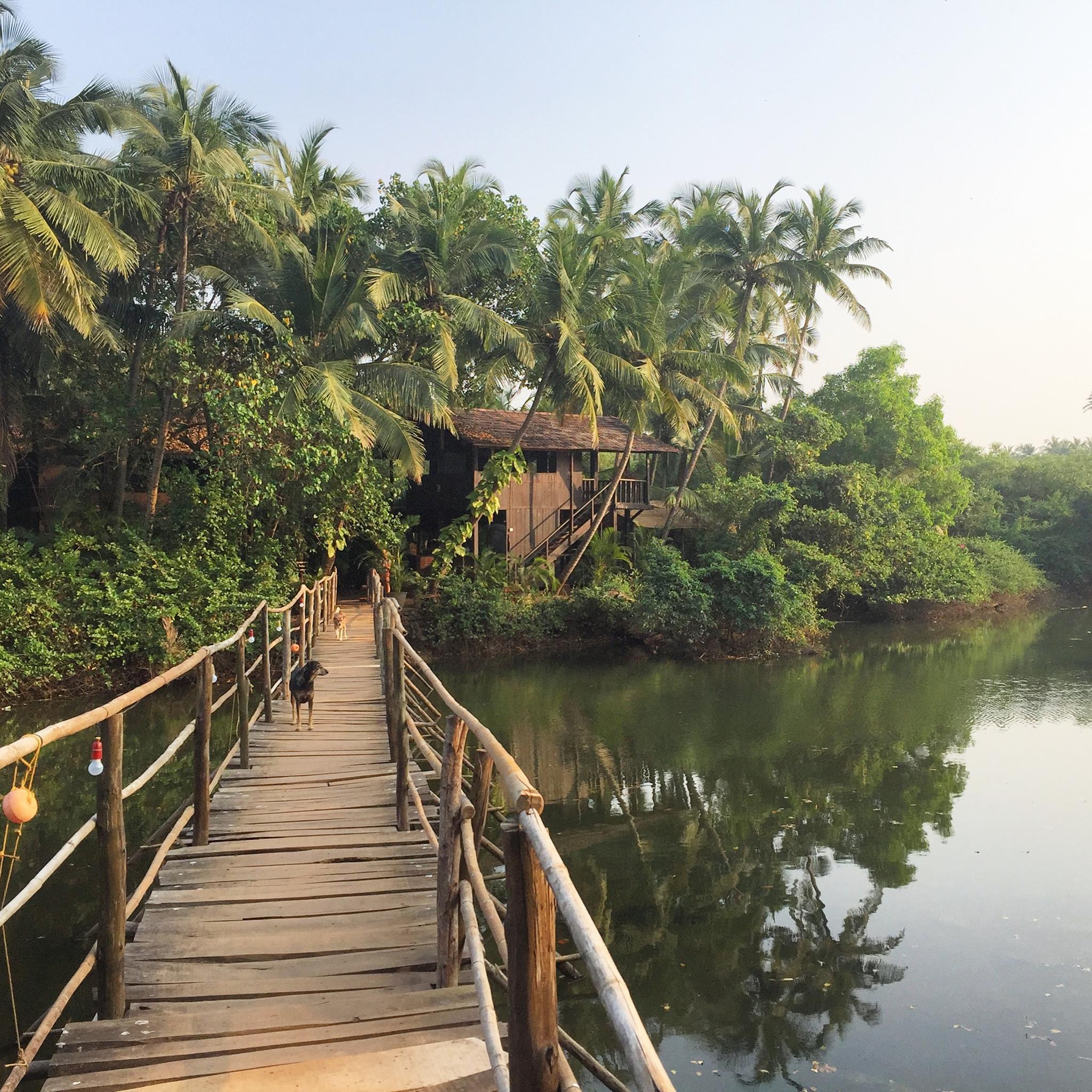 Entrance to the retreat, Goa, India.