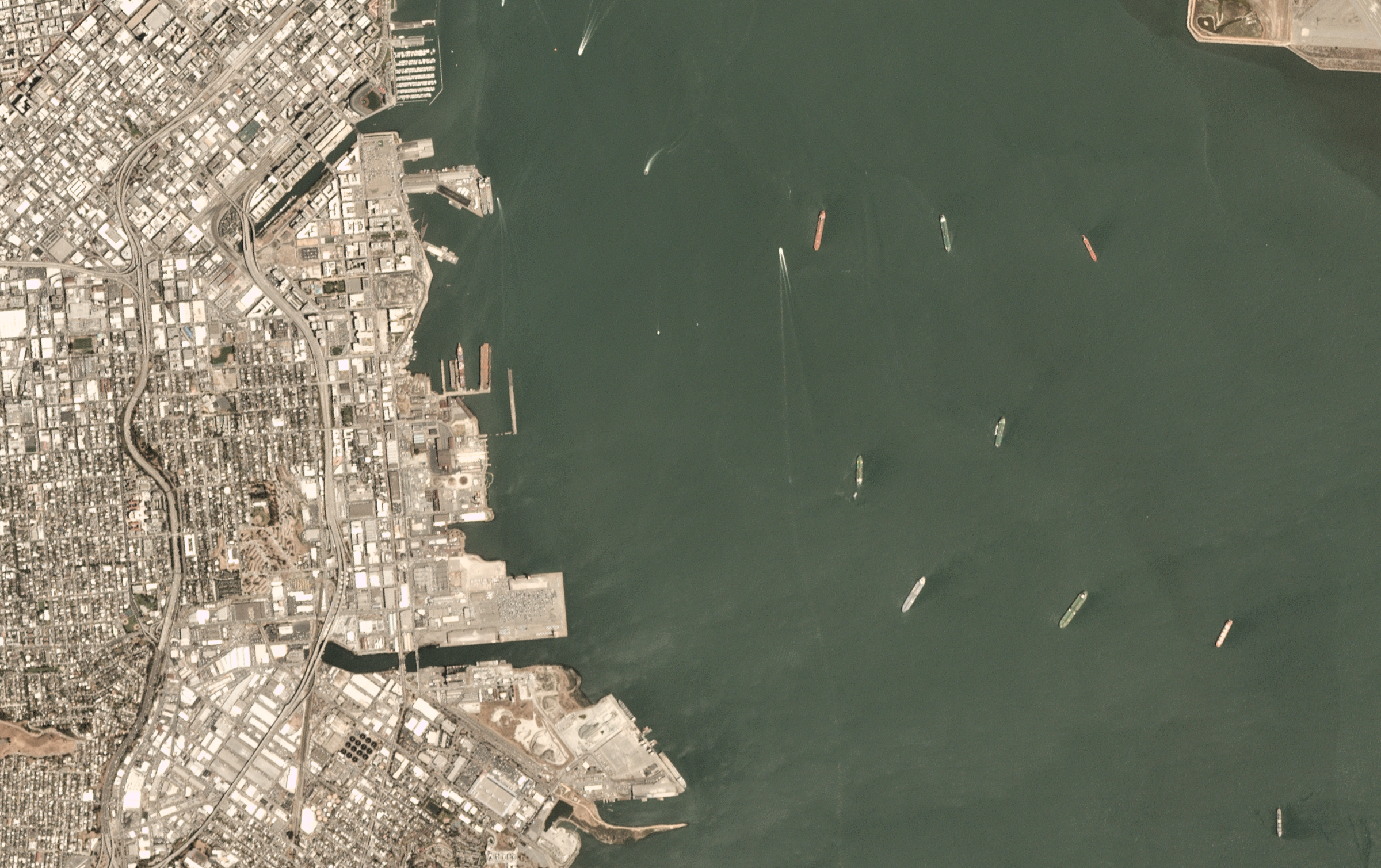Satellite scene of San Francisco bay, made available through Planet's    Open California    dataset, which is    openly licensed   .