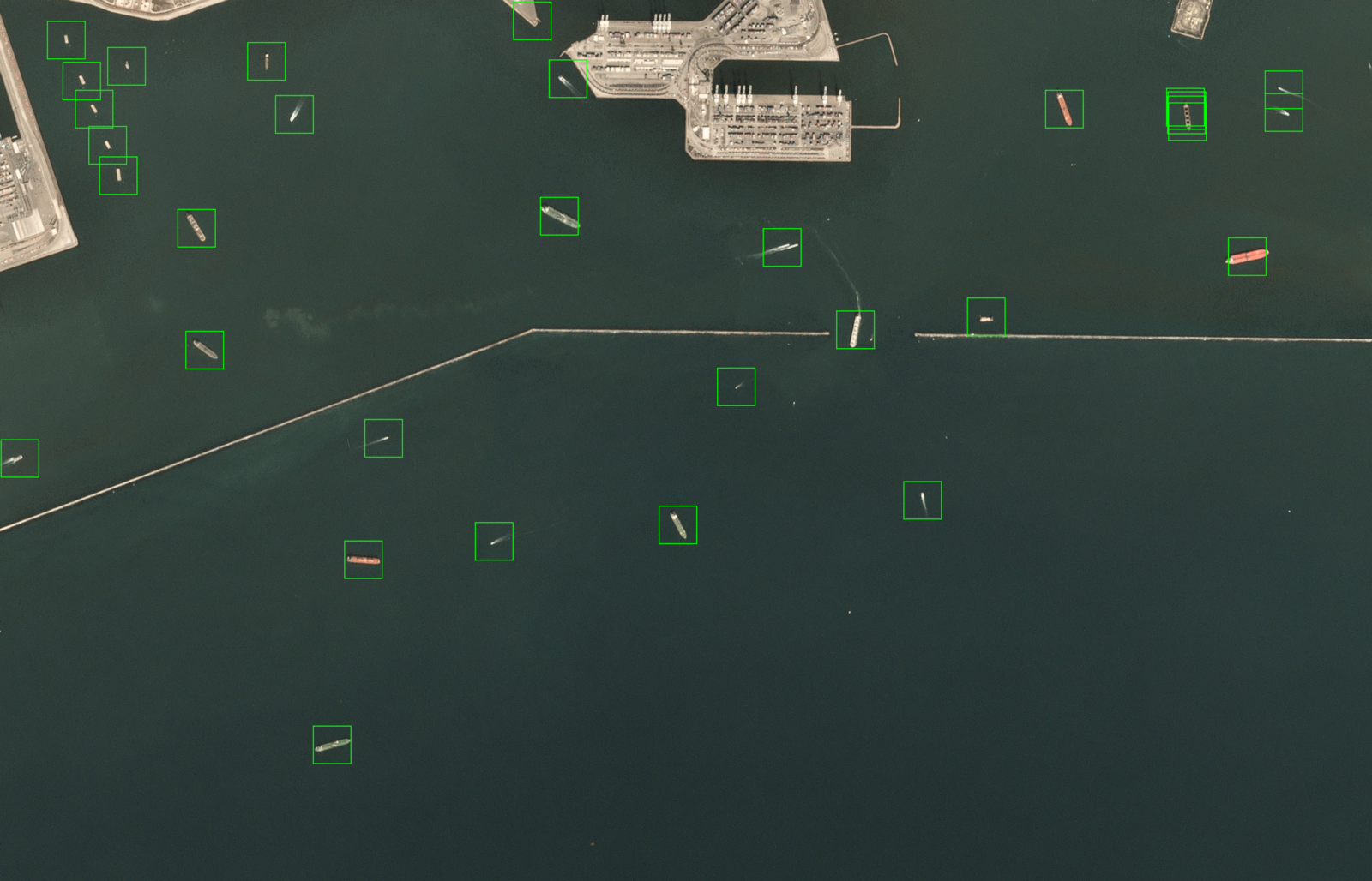 Satellite scene of Long Beach bay, made available through Planet's    Open California    dataset, which is    openly licensed   , after being processed by our ship detector algorithm.
