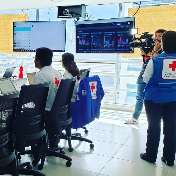 Colombian Red Cross using FUSION's MEDIA module in their crisis room in Bogotá