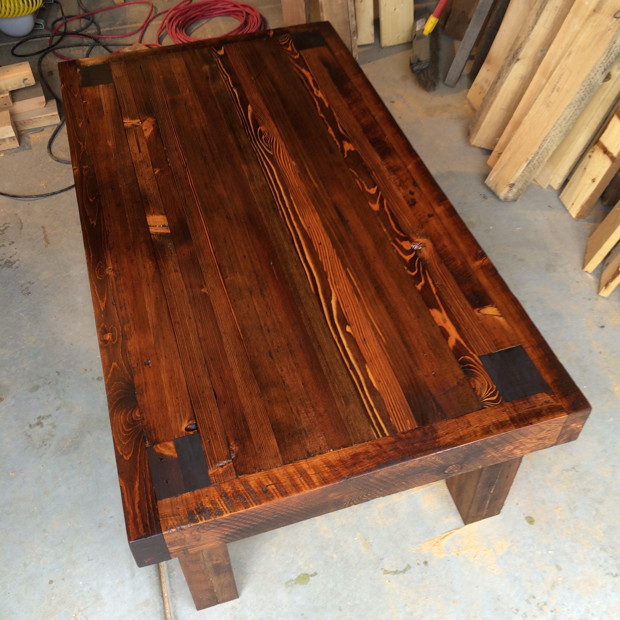 Large coffee table made form late 1800's wall studs. This material was pulled from a remodel project in Denver's Curtis park neighborhood.