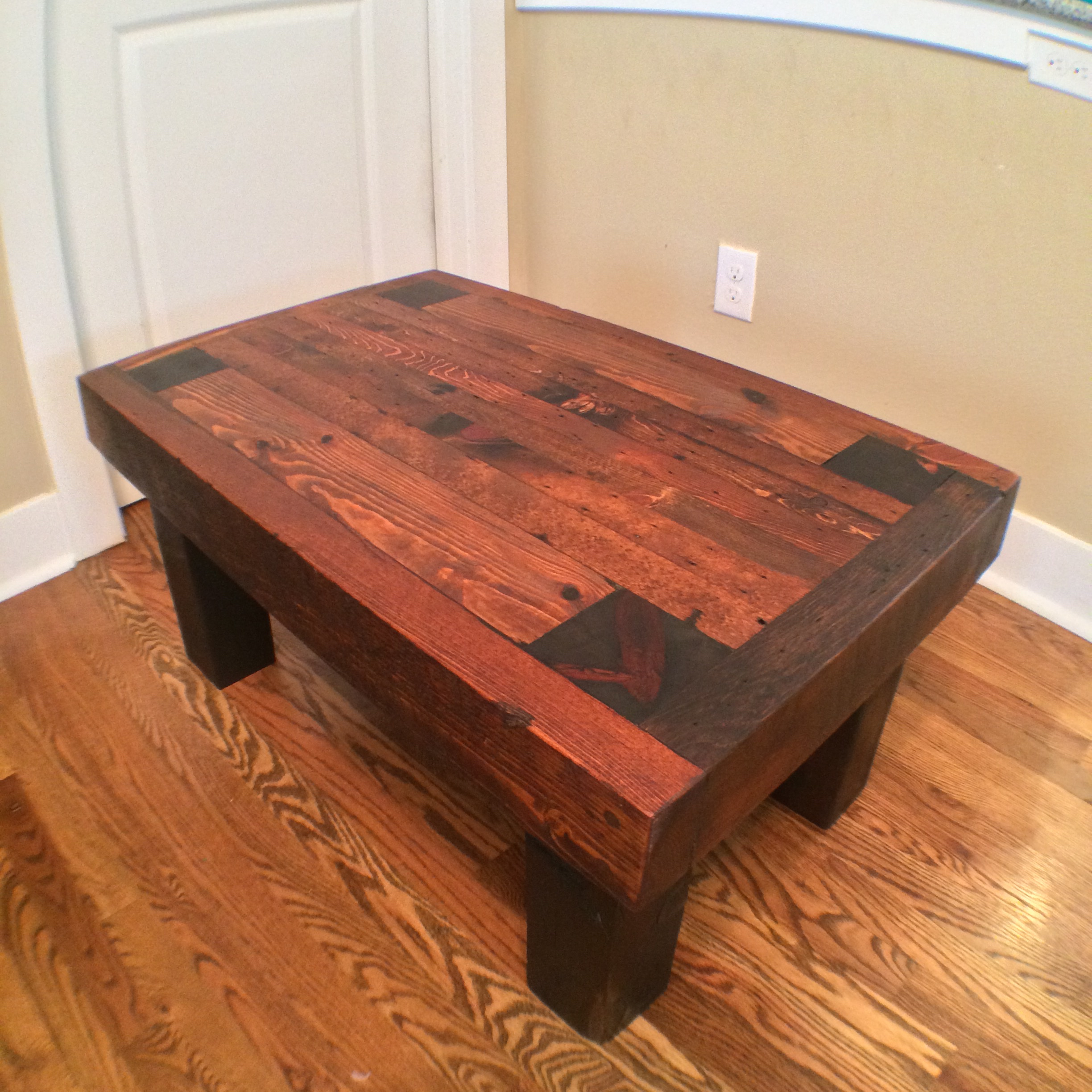 Coffee table made from late 1800's wall studs. This material was pulled from a remodel in Denver's Curtis Park neighborhood.