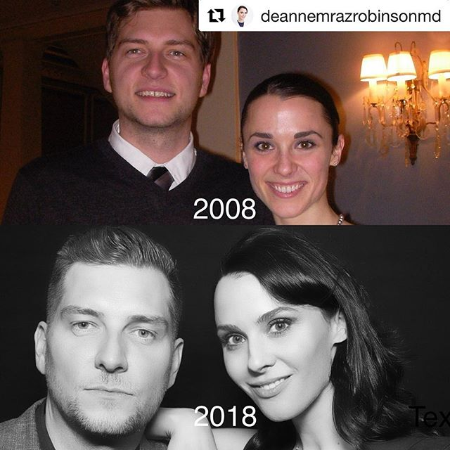 """#Repost @deannemrazrobinsonmd — if you were wondering what the """"10 year age challenge"""" looks like for a derm 💃💥💃💥 #benjaminbutton ・・・ 2008➡️2018.  #howdidiagechallenge #tenyearchallenge The first pic is from my #AOA induction at med school and this is from the opening of my practice @moderndermct . What a decade!!! My #prejuvenation regimen consists of daily #spf #antioxidants #alastin and some tweakments with #injectables and #lasers. Here's to the next ten years!!! #tenyearchallenge #thenandnow #threemorekidssincethen #skincareroutine #tbcd #boardcertifieddermatologist #medicalschool @moderndermct @purebioderm"""