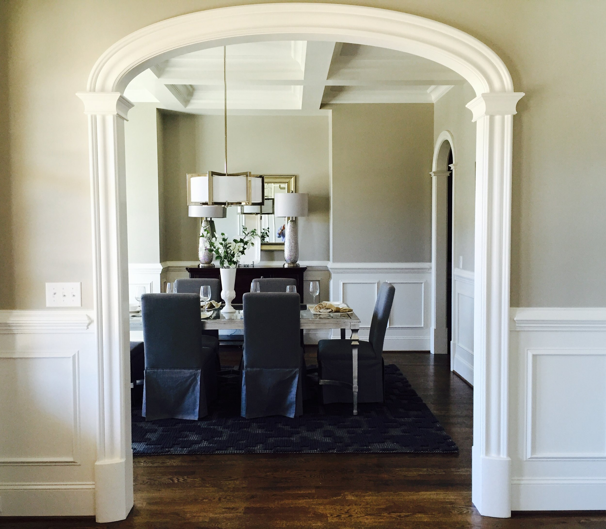 Arched Doorway in foyer/dining room - model j style with no flutes and no keystones