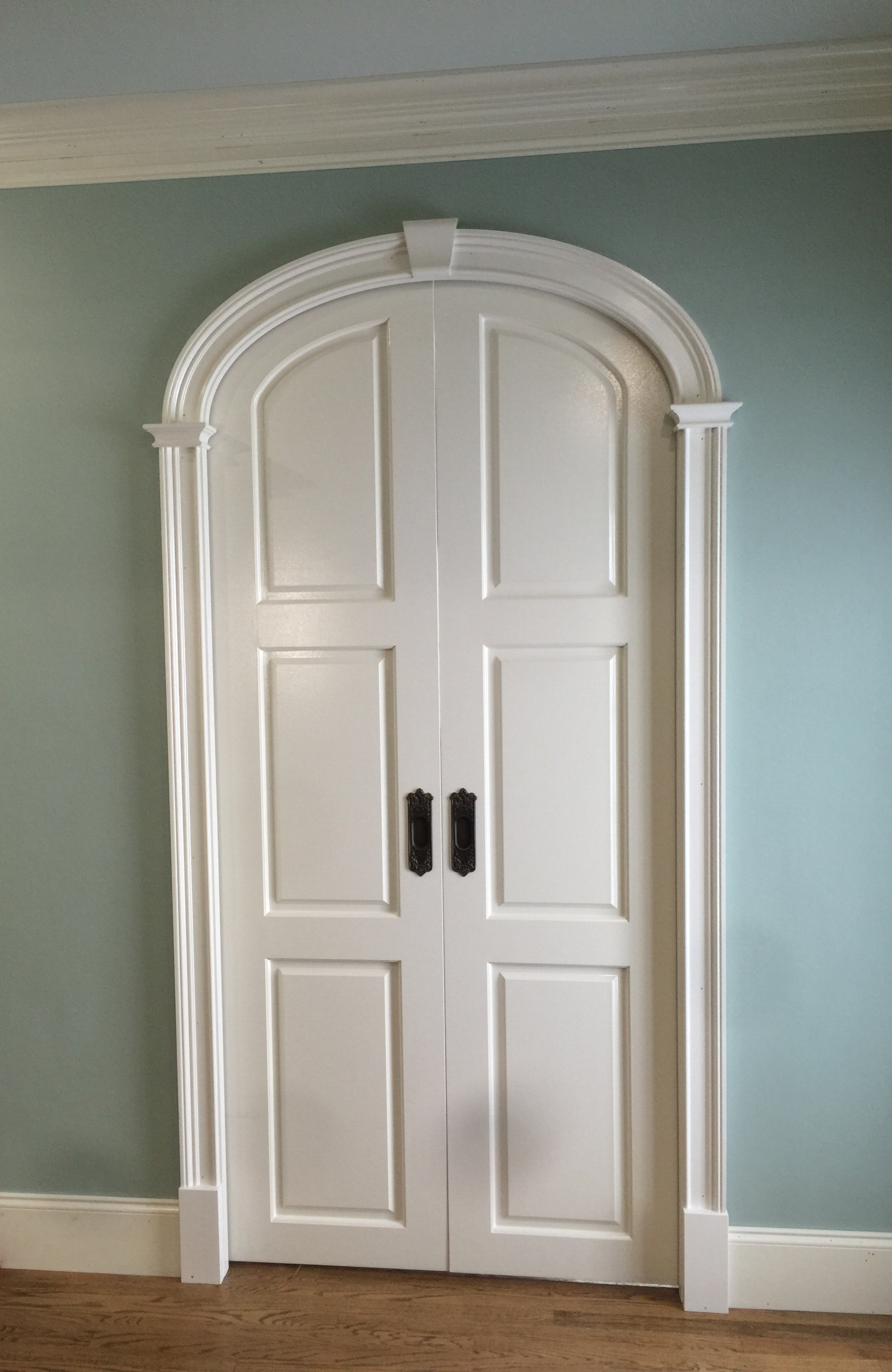 arched pocket doors - prefab arch kit split to fit concentric panel pocket doors!